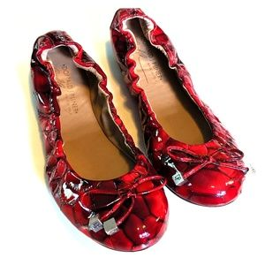 Donald J Pliner red patent leather flats